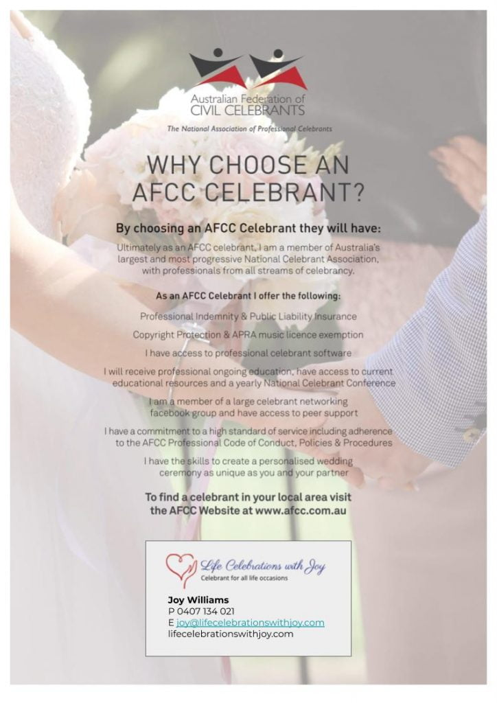 AFCC Flyer - Joy Williams Celebrant